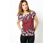 [Preorder] เสื้อแฟชั่นแขนสั้นสไตล์ยุโรป ลายจุดและดอกไม้ สีแดง (ไซส์ S M L) 2014 summer new European style ASOS Polka Dot Dot digital printing short-sleeved t-shirt Slim Blouse