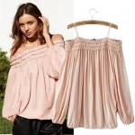 [Preorder] เสื้อแฟชั่นแขนยาวเปิดไหล่ (ไซส์ S M L XL) Cotton Village 2014 summer new European style sling style shoulder lantern sleeve pink shirt leakage female T-shirt