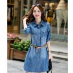 [Preorder] เดรสยีนส์แฟชั่นแขนยาว (ไซส์ S M L XL 2XL 3XL 4XL 5XL) 2014 Hitz Korean Women temperament Slim thin denim dress large size fat MM was thin long-sleeved