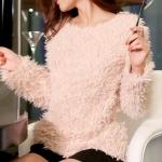[Preorder] เสื้อกันหนาวขนสัตว์แขนยาวแฟชั่น สีชมพู The warm Korean series plush shirt