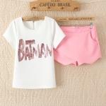[Preorder] เซ็ทเสื้อแขนสั้นสีขาวประดับ sequins ภาษาอังกฤษ + กางเกงขาสั้นสีชมพู (ไซส์ M L XL) Korean Slim thin short-sleeved T-shirt sequined letters cross piece shorts culottes 2014 summer new women
