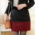 [Preorder] กระโปรงทำงานแฟชั่นสั้นซิปข้าง สีดำแดง Color woolen skirt camel