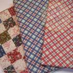 เซตผ้าฝ้ายโทนสีน้ำเงิน-แดง (1/8 หลา ) 3 ชิ้น