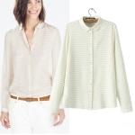 [Preorder] เสื้อเชิ๊ตแฟชั่นแขนยาวสไตล์ยุโรป สีขาว (ไซส์ S M L) Cotton Village 2014 new European and American high-end big-name women's autumn striped long-sleeved shirt shirt blouses