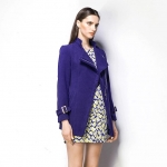 [Preorder] เสื้อโค้ทกันหนาวแฟชั่นแขนยาวสไตล์ยุโรป สีน้ำเงิน (ไซส์ S M L XL) Cotton Village Station 2014 fall new European fashion ladies solid color simple oblique zipper sweater coat jacket women