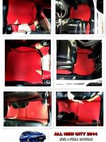 ผ้ายางปูพื้นรถยนต์ ALL NEW CITY 2014 ลายกระดุม สีแดงขอบดำ เต็มคัน 10 ชิ้น