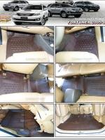 พรมปูพื้นรถยนต์ FORTUNER 2005-14 รุ่น PROMAT ลายหนังแท้ รีดขอบ สีน้ำตาลเข้ม