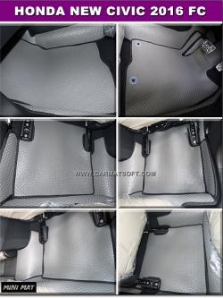 ยางปูพื้นรถยนต์ NEW CIVIC FC 2016 รุ่น minimat กระดุมเม็ดเล็ก สีเทาขอบดำ เต็มคัน