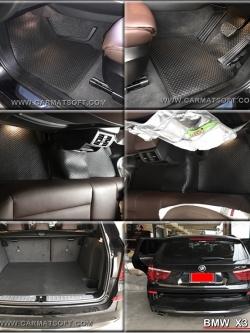 ยางปูพื้นรถยนต์ BMW X3 F25 รุ่น minimat กระดุมเม็ดเล็ก สีดำ +แผ่นปูท้าย (6 ชิ้น) พรมปูพื้นลายกระดุม bmw x3 f25 ตัดเข้ารูป สวยงาม ทนทานที่สุด ป้องกันน้ำ กันโคลน กันเปื้อนได้ดี ...ส่งฟรี