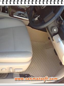 พรมปูพื้นรถยนต์ NEW Camry 2012-2018ลายกระดุม สีครีม เต็มคัน 14 ชิ้น พื้นเรียบ+ตีนตุ๊กแก