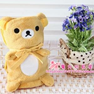 ผ้าห่ม เนื้อผ้าขนหนู นิ่มมากๆ ห่มเด็กได้จ้า ลายหมี ริลัคคุมะ Rilakkuma ขนาด 100x78cm