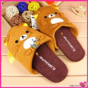 รองเท้าใส่ในบ้าน ลายRilakkuma ริลัคคุมะ หมีน้ำตาล