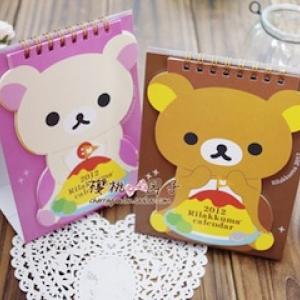 ปฏิทิน ปี2012 มี2ลาย: Rilakkuma หมีน้ำตาล และ Korilakkuma หมีสีครีม