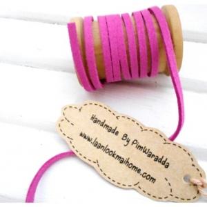 เชือกหนัง กว้าง 3 mm หนา 2 mm ราคาต่อ 1 หลา - โทนสีชมพู