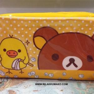 กระเป๋า หมีริลัคคุมะ ใส่เครื่องสำอางค์ หรือ ใส่ของเอนกประสงค์ ขนาด 7x4นิ้ว สีเหลือง