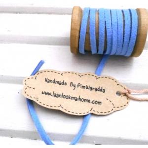 LCB7 : เชือกหนังแบน กว้าง 3 mm หนา 2 mm ราคาต่อ 1 หลา - โทนสีฟ้า1