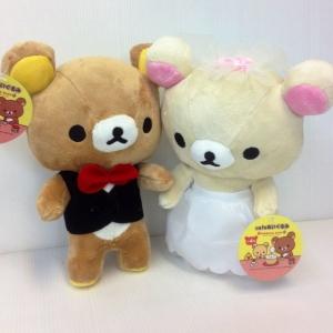 ตุ๊กตา เซ็ตคู่ ริลัคคุมะ Rilakkuma คู่ โคะริลัคคุมะ Korilakkumaใส่ชุดแต่งงาน ขนาด 9นิ้ว
