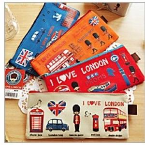 กระเป๋าใส่เครื่องเขียน ปากกา ดินสอ i love london ขนาด 10x20 cm (ราคาส่ง 3ใบ เหลือใบละ 75บาท)