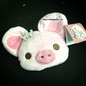 กระเป๋าใส่เศษสตางค์ พร้อมช่องใส่บัตร และที่เกี่ยวกระเป๋า ลาย หมูน้อยน่ารัก Piggy Girl