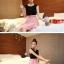 เดรสแฟชั่นเกาหลีเสื้อสีดำตัดต่อกระโปรงสีชมพูพร้อมเข็มขัด thumbnail 7