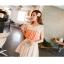 Chu ViVi เสื้อแฟชั่นแขนกุดผ้าซีฟองสีส้ม thumbnail 5