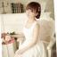 B.B.Girl เดรสเจ้าหญิงสีขาว ผ้าชีฟองเกาหลี แอบเซ็กซี่ช่วงเองด้วยผ้าโคเชลายดอกไม้ thumbnail 2