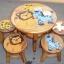 ลายเพื่อนสิงโต รุ่นไม่มีพนักพิง โต๊ะ ขนาด 18*20 นิ้ว จำนวน 1 ตัว เก้าอี้ ขนาด 10*10 นิ้ว จำนวน 4 ตัว ผลิตจากไม้จามจุรีแท้ ไม่ใช่ไม้อัด รับน้ำหนักได้ถึง 70 กก. thumbnail 1