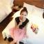 เดรสแฟชั่นเกาหลีเสื้อสีดำตัดต่อกระโปรงสีชมพูพร้อมเข็มขัด thumbnail 6