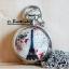 จี้นาฬิกาสร้อยคอ สีเงินเงาทรงกลม ประดับเซรามิคเพ้นท์ลายหอไอเฟล (พร้อมส่ง)