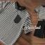 ชุดเซ็ตเซ็ทเสื้อคอปกสีดำ เนื้อผ้าชีฟองลายริ้วขาวดำ thumbnail 4