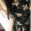 มินิเดรสเสื้อคอวีหน้า-หลังลายดอกไม้กราฟฟิกพิมพ์นูนสีดำเป็นกำมะหยี่กระโปรงเป็นเรเยอร์2ชั้นมี3สีนะค่ะ thumbnail 3