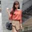 Chu ViVi เสื้อแฟชั่นคอบัวแขนสี่ส่วนพิมพ์ลายสีส้มอิฐ thumbnail 1