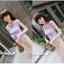 กางเกงแฟชั่นสี่ส่วนลายกราฟฟิกโทนสีชมพูไซส์M thumbnail 2