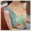 เดรสแฟชั่นเกาหลีแขนกุดผ้าซีฟองลายดอกแต่งโบว์ที่ไหล่ ตัดต่ดกระโปรงสีเขียวอมฟ้า thumbnail 7