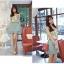 เดรสแฟชั่นเกาหลีแขนกุดผ้าซีฟองลายดอกแต่งโบว์ที่ไหล่ ตัดต่ดกระโปรงสีเขียวอมฟ้า thumbnail 4
