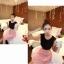 เดรสแฟชั่นเกาหลีเสื้อสีดำตัดต่อกระโปรงสีชมพูพร้อมเข็มขัด thumbnail 5