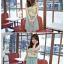 เดรสแฟชั่นเกาหลีแขนกุดผ้าซีฟองลายดอกแต่งโบว์ที่ไหล่ ตัดต่ดกระโปรงสีเขียวอมฟ้า thumbnail 6