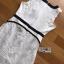 มินิเดรสผ้าลูกไม้สีขาว-ดำตกแต่งระบาย thumbnail 4