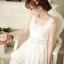 B.B.Girl เดรสเจ้าหญิงสีขาว ผ้าชีฟองเกาหลี แอบเซ็กซี่ช่วงเองด้วยผ้าโคเชลายดอกไม้ thumbnail 3
