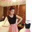 เดรสแฟชั่นเกาหลีเสื้อสีดำตัดต่อกระโปรงสีชมพูพร้อมเข็มขัด thumbnail 2