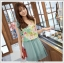 เดรสแฟชั่นเกาหลีแขนกุดผ้าซีฟองลายดอกแต่งโบว์ที่ไหล่ ตัดต่ดกระโปรงสีเขียวอมฟ้า thumbnail 1