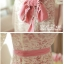Anglecitiz เดรสคอยูแขนสี่ส่วนผ้าลูกไม้สีครีมซับในสีชมพู thumbnail 7