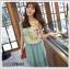 เดรสแฟชั่นเกาหลีแขนกุดผ้าซีฟองลายดอกแต่งโบว์ที่ไหล่ ตัดต่ดกระโปรงสีเขียวอมฟ้า thumbnail 2