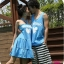 ชุดคู่รัก สีฟ้าสกรีนหัวใจตรงอกค่ะ thumbnail 1