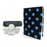 """ปกผ้าพื้นดำ ลาย Polka dot เนื้อผ้าคอตต้อน ขนาด 7"""" ( Pocket Book )"""