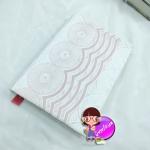 """ปกผ้าลูกไม้ กราฟฟิคสีชมพู เนื้อผ้าคอตต้อน ขนาด 8"""" ( Pocket Book )"""