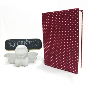 """ปกผ้าพื้นแดง ลายPolka Dot เนื้อผ้าคอตต้อน ขนาด 7"""" ( Pocket Book )"""