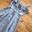 เดรสผ้าคอตตอนสีฟ้าทรงเปิดไหล่ติดกระดุมสไตล์สาวอังกฤษ ตัวนี้เป็นแนวอังกฤษแบบคันทรีเก๋ๆ ป้าย Lady Ribbon thumbnail 9
