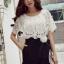 จั้มสูทกางเกงขาสั้น สีขาวดำ สไตล์เกาหลี ทรงสวยดูไฮด้วยดีเทลงานเย็บแต่งด้วยผ้าลูกไม้ thumbnail 7