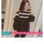 เสื้อยืดแฟชั่น คอกลม แขนยาวแต่งครึ่งบนลายริ้ว น่ารักสไตล์เกาหลี thumbnail 8